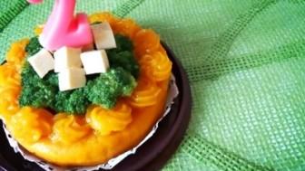 お誕生日の犬用ケーキ!かぼちゃとブロッコリーでデコレーションケーキ☆